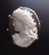 XX-Fine Antique Large Hardstone Agate Cameo Brooch of Bacchus 18k Gold Pearls