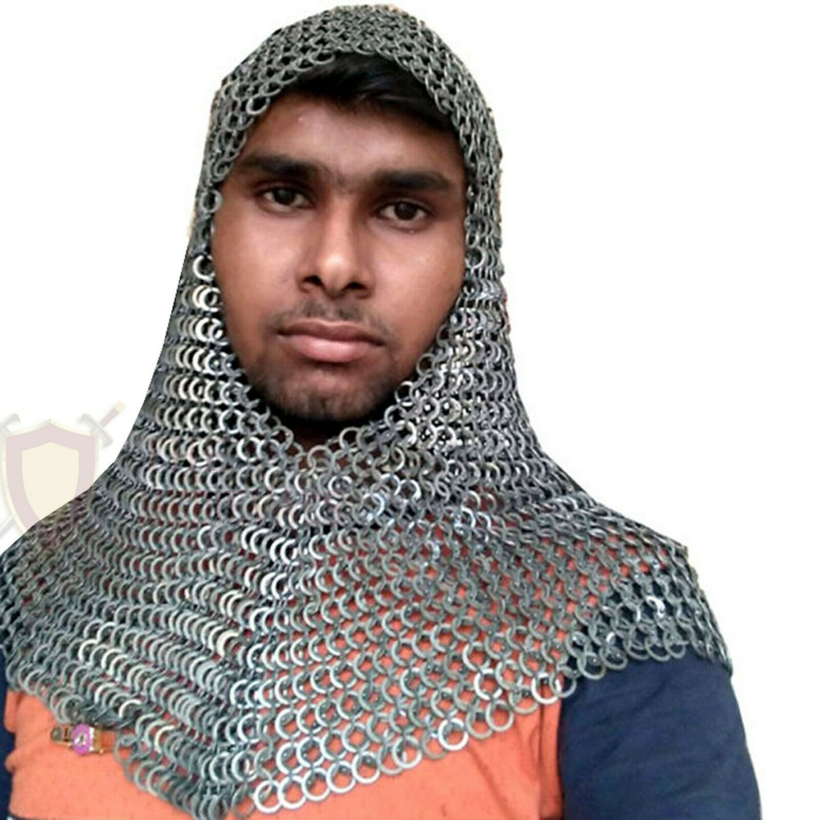 THE MEDIEVALS Chain Mail Hood V shape 09 MM ID MS Flat Riveted Armor SCA LARP