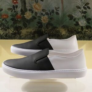 Nwb Womens Auth Chanel Black White Leather 16p Slip On Sneakers