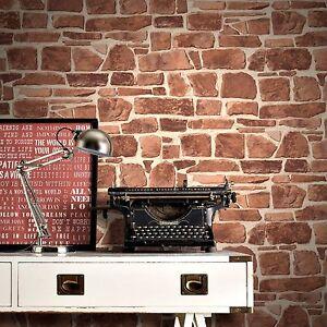 Rasch mattone muro di pietra effetto rosso lusso for Carta da parati adesiva effetto mattone
