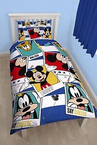 disney mickey mouse polaroid einzelbett bettw sche satz bettw sche kissenbezug ebay. Black Bedroom Furniture Sets. Home Design Ideas