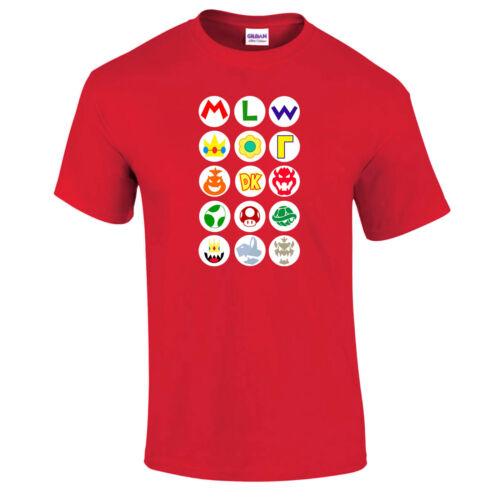 Super Mario Bros Friend Logos Retro T-Shirt Luigi Peach Donkey Kong Wario Bowser