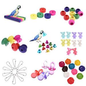 Various-Parrot-Cockatiel-Toy-DIY-Accessories-Wooden-Loofah-Bells-Bird-Toy-Parts