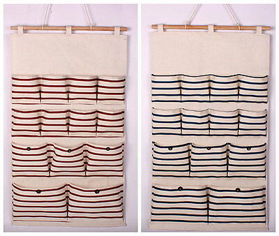 Hanging Storage Bag Stripe 13 Pocket Organizer Eco-Friendly Cotton Linen