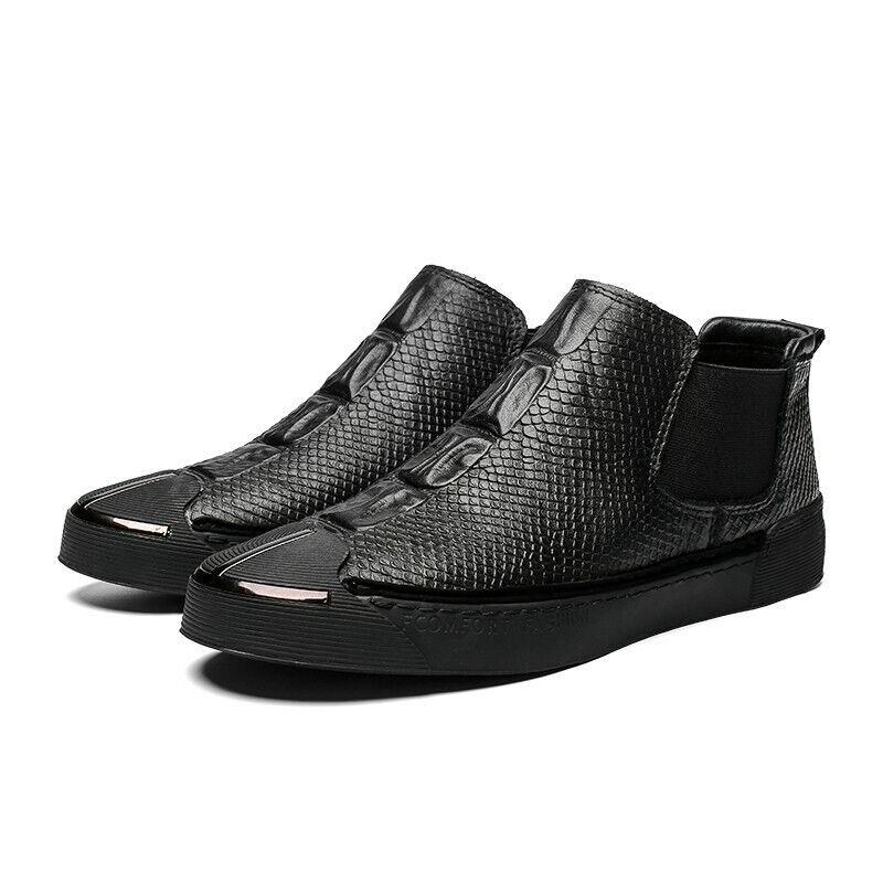 Mens Round Toe Flat  Slip on nero Fahsion Leather Spring Mid Top scarpe Casual  risparmia il 50% -75% di sconto