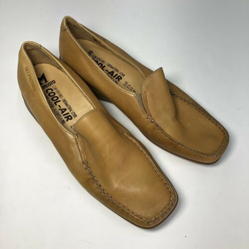 Mephisto Tan Leather Square Slip On Womens Flats … - image 1