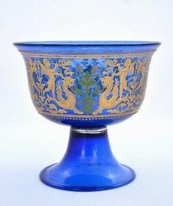 1930-039-s-Venetian-Bohemian-Moser-Murano-Style-Gilt-Enamel-Glass-Bowl-Cup-Griffin