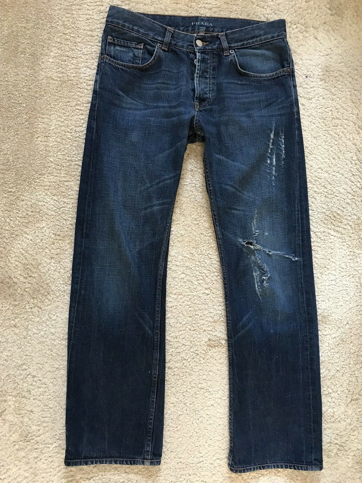 PRADA Men's Classic Fit Ripped Jeans bluee Size  W32 X 30