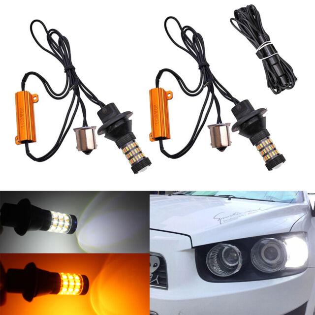 2x Error free 1156 7056 BA15S Switchback LED Kit for DRL Turn Signal Lights