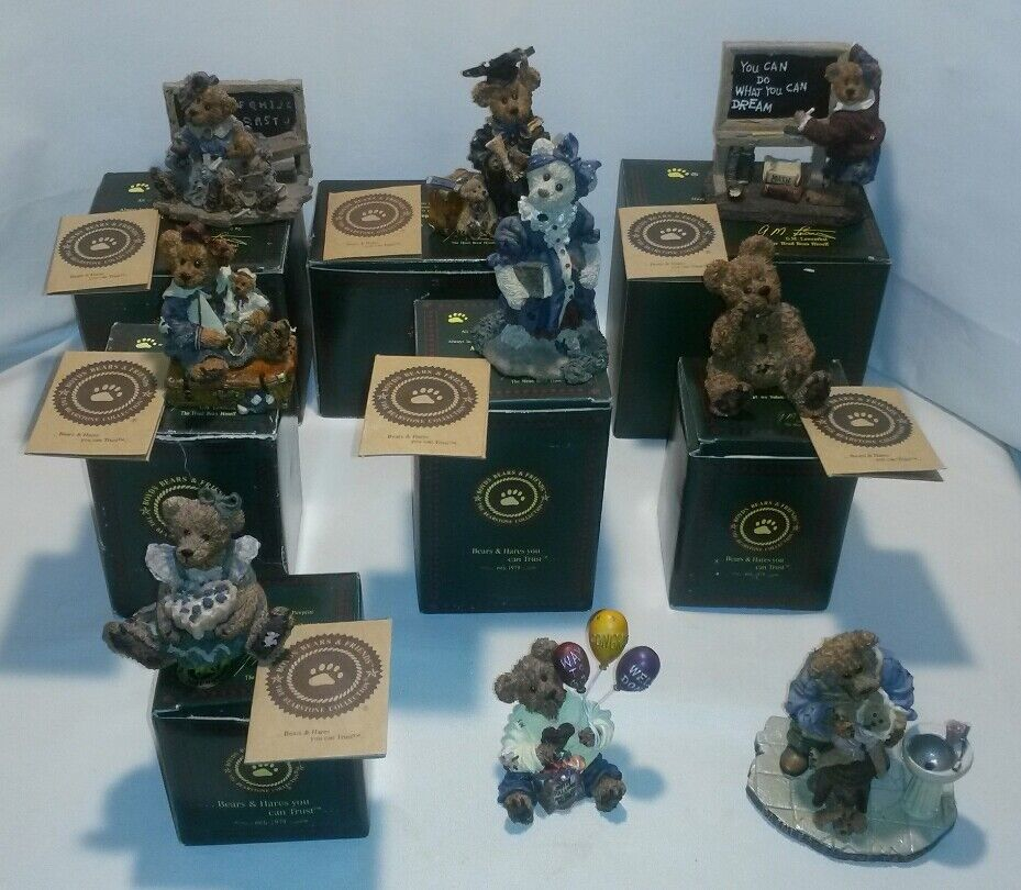 Lot of 9 Boyd's Bears Figures The Bearstone Collection FREE SHIPPING