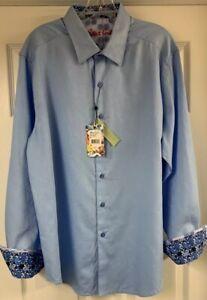 Robert-Graham-Classic-Fit-Walden-Light-Blue-L-S-Flip-Cuff-Shirt-Mens-XL-New
