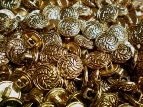 Small 13mm Gold Filigree Shank Craft Children Sewing Buttons Button W625