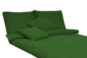 Bettwäsche Set Frottee Einfarbig Unifarbe Dunkelgrün 155x200