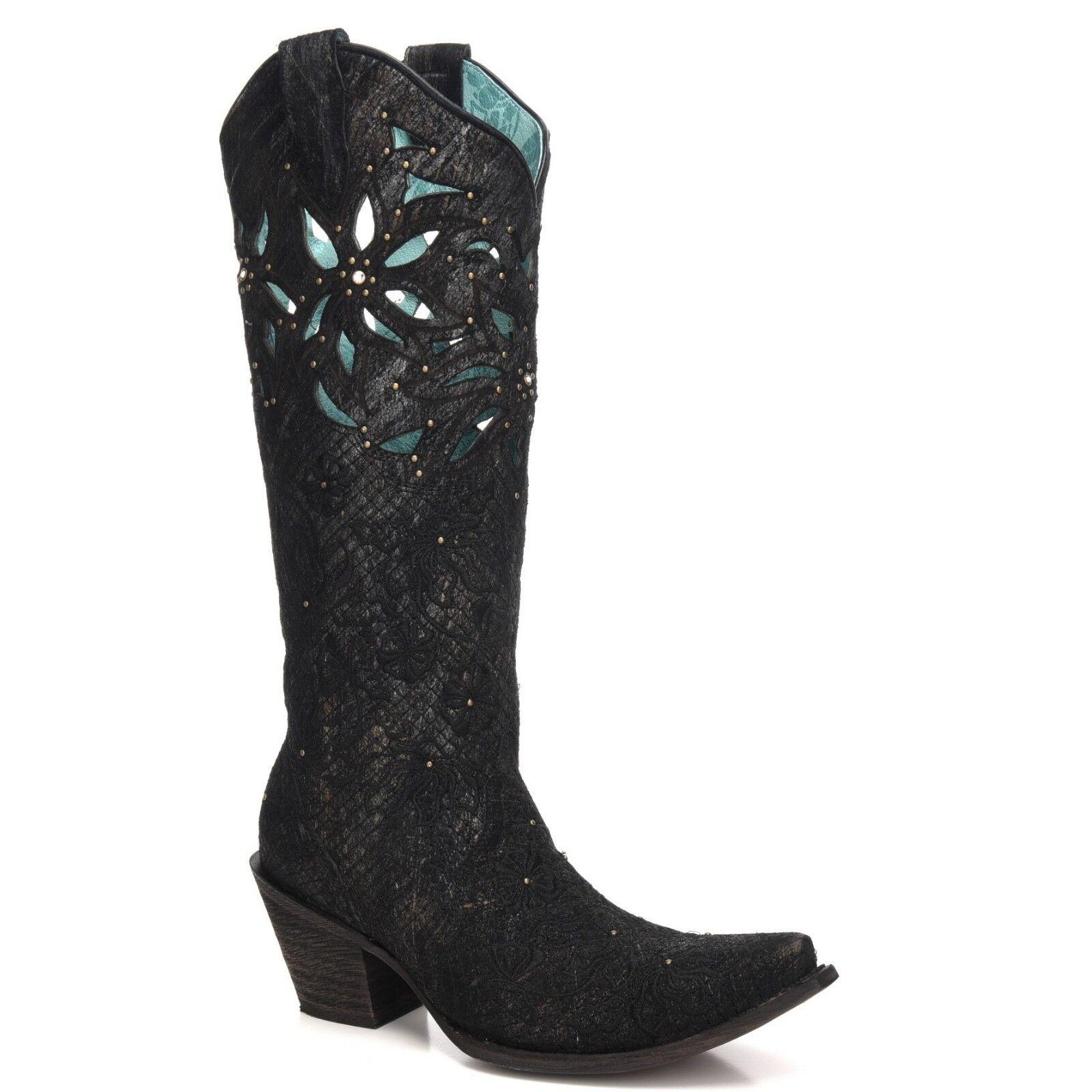 distribuzione globale Corral Ladies nero nero nero & oro Net Embroidery Cut-Out & Studs stivali C3345  servizio di prima classe