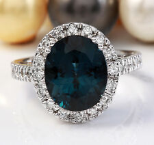 6.40 CTW Natural London Blue Topaz and Diamonds in 14K White Gold Ring