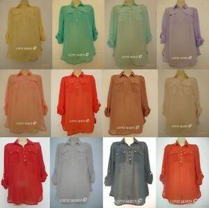 NEW-Primark-SHEER-CHIFFON-Shirt-Blouse-RED-ORANGE-MUSTARD-LONG-SLEEVES-8-20