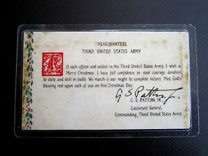 GEN-PATTON-039-S-034-BATTLE-OF-THE-BULGE-034-PRAYER-CARD-FOR-1944-WWII-with-AUTOGRAPH