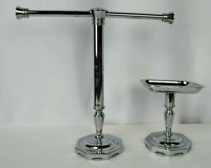 Details About Finger Tip Hand Towel Holder Soap Dish Free Standing Bathroom Chrome Pedestal