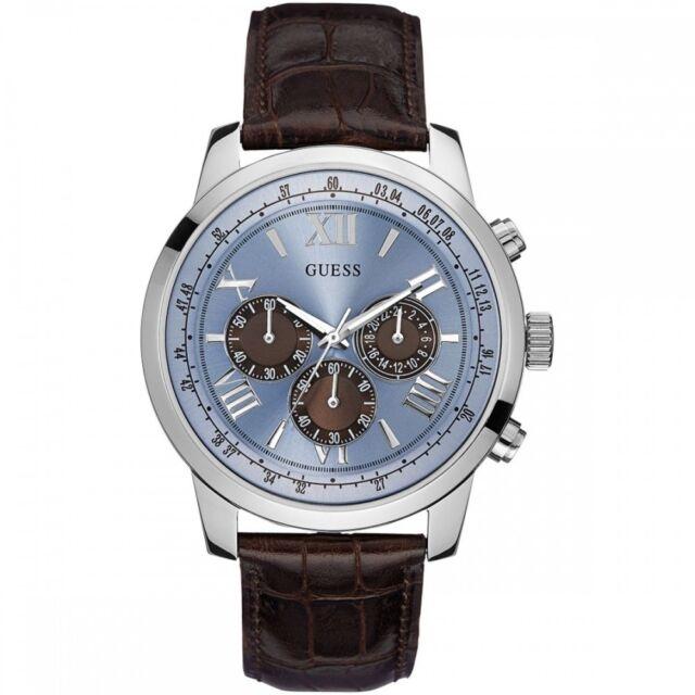 1626dac45 GUESS Horizon Men's 45mm Chronograph Brown Calfskin Quartz Watch W0380G6