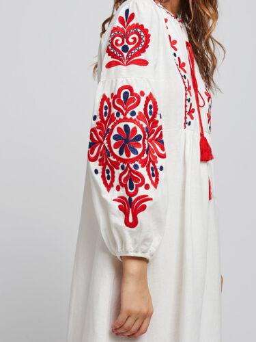 Vyshyvanka Women Folk Ethnic Embroidery Boho Long Sleeve Maxi Dress Abaya Gowns