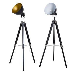HOMCOM Lampe de Sol à Long Trépied Lampadaire Hauteur Réglable Abat-Jour