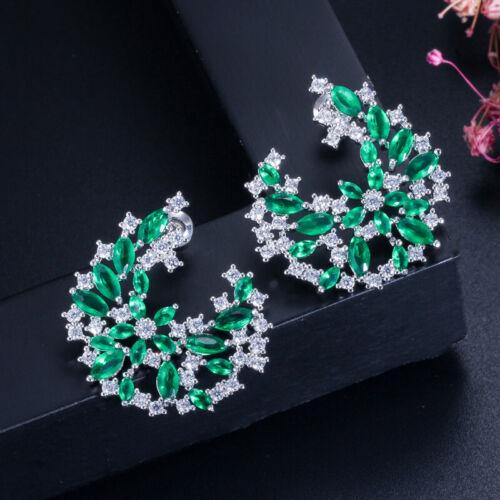Cwwzircons Cubic Zirconia Verde Cristal Grandes Flor Aretes para Mujer Bisutería