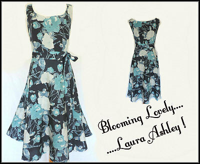 LAURA ASHLEY DRESS • BLUE FLORAL • SILK MIX • WEDDING • RACES • OCCASION • 16/18