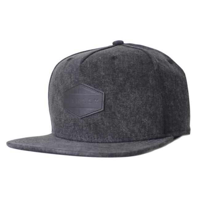 Oakley Drone Acid Cap Black Snapback Adjustable Leather Logo Hat