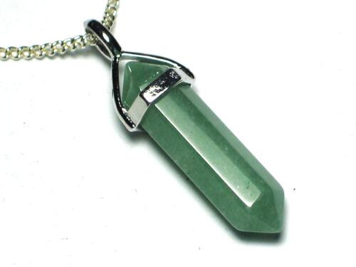 Prosperity Leadership Healing Aventurine Crystal Point pendant /& SP chain