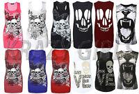 New Womens Graphic Print Cotton T-Shirt Mod Girls Vest Ladies Top Size S/M M/L