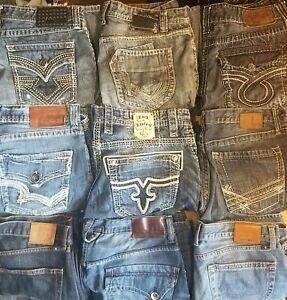 Lote De 9 Pantalones Vaqueros Del Disenador Rock Revival Big Star Bke Afliccion Lucky Para Hombres 36 Ebay