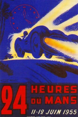 1955-24 Hours Le Mans France Automobile Race Car Advertisement Vintage Poster