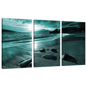 Image Is Loading Set Of 3 Teal Canvas Prints Pictures Living
