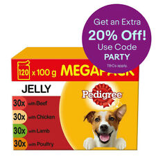 Pedigree Adult Wet Dog Food Pouches Mixed Selection in Jelly 120x100g Pouches