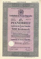 Königsberg Landesbank der Provinz Ostpreußen Pfandbrief 500 RM 1940 dekorativ