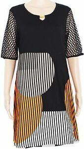 Noir Jersey Robe Femmes Streich Orange Doris Blanc Rayures En IzqpSwnaY