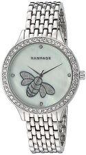 Rampage Watch Crystal Accent MOP Bee Dial Silver Tone Bracelet Women's Watch