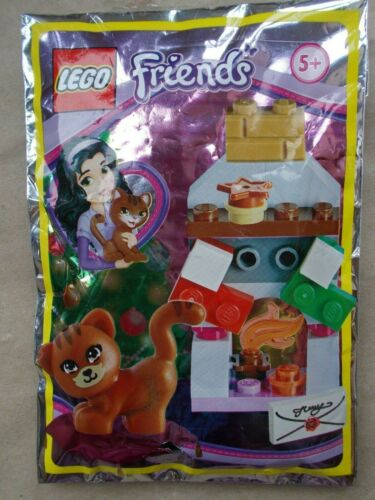 2 NEW GIRLS LEGO CHISTMAS WINTER FOIL PACK CAT FIREPLACE DOG PRESENT TREE SLED
