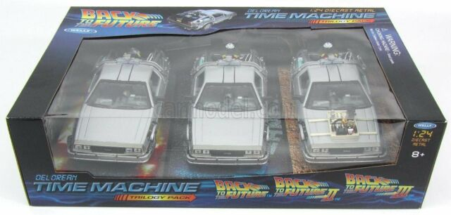 1/24 WELLY - DE LOREAN - SET 3 x TIME MACHINE - BACK TO THE FUTURE 1 - 2 WE22400