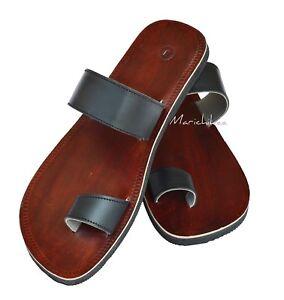 Mens Leather Slippers Gladiator Sandals Flip Flops Black Size 6-11 New
