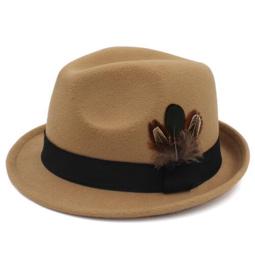 Hommes Femmes Solide Feutre Fedora Chapeau Trilby Cap Jazz Sunhat Gangster Réglable Taille