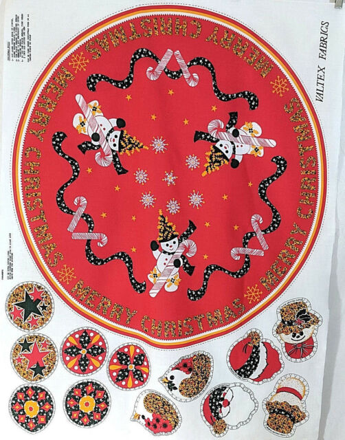 vintage christmas fabric craft panel cut and sew snowmantree skirt ornaments - Vintage Christmas Fabric