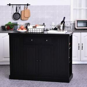Black Kitchen Island Large Storage Cabinet Buffet ...