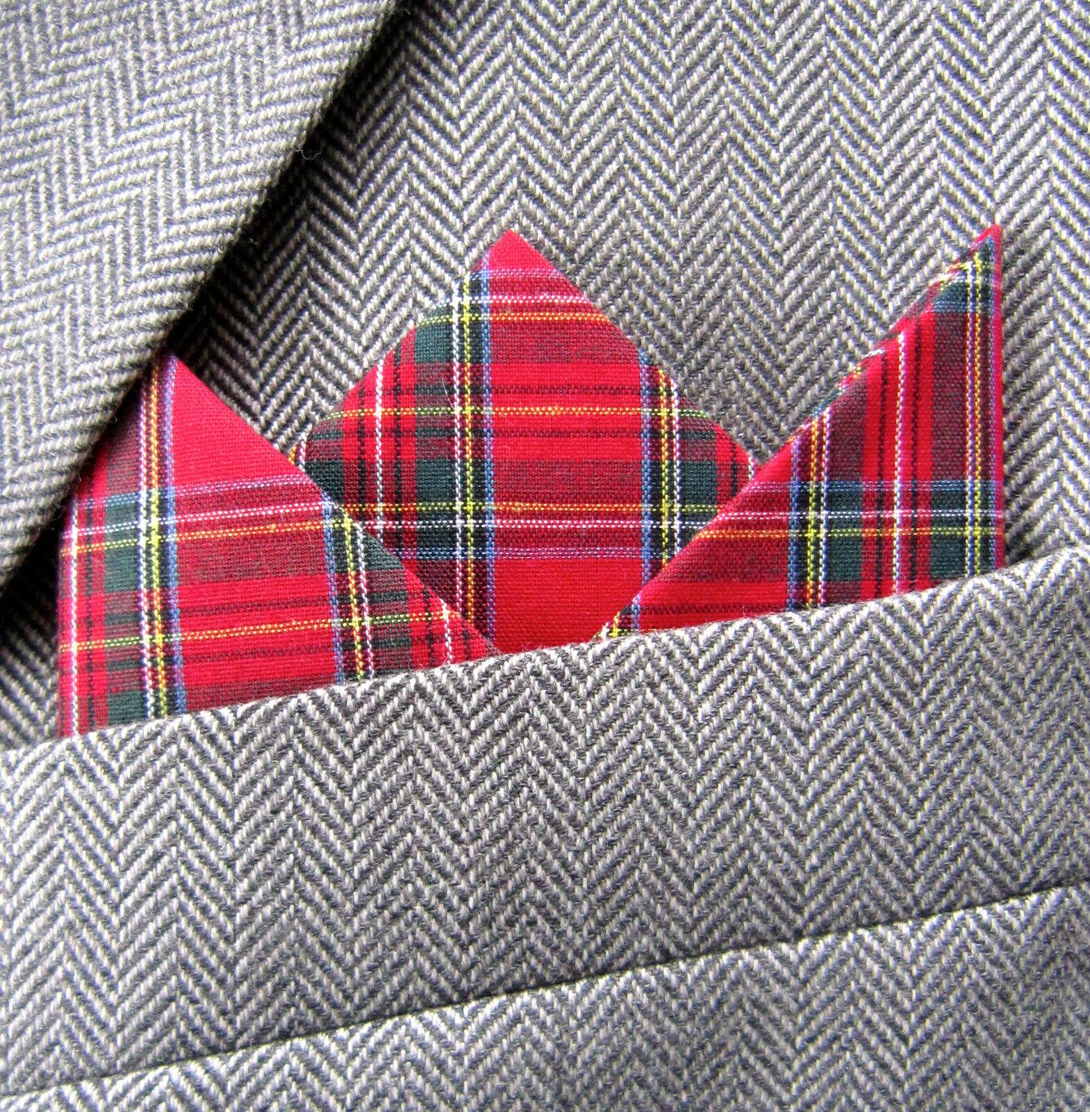 SUPERNOVA Red Stewart Tartan Check 3 Point Carded Pocket Handkerchief Mod
