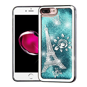 100% authentic 4b75f 73e39 Details about For iPhone 7+ PLUS - Silver Eiffel Tower Blue Glitter Sparkle  Liquid Water Case
