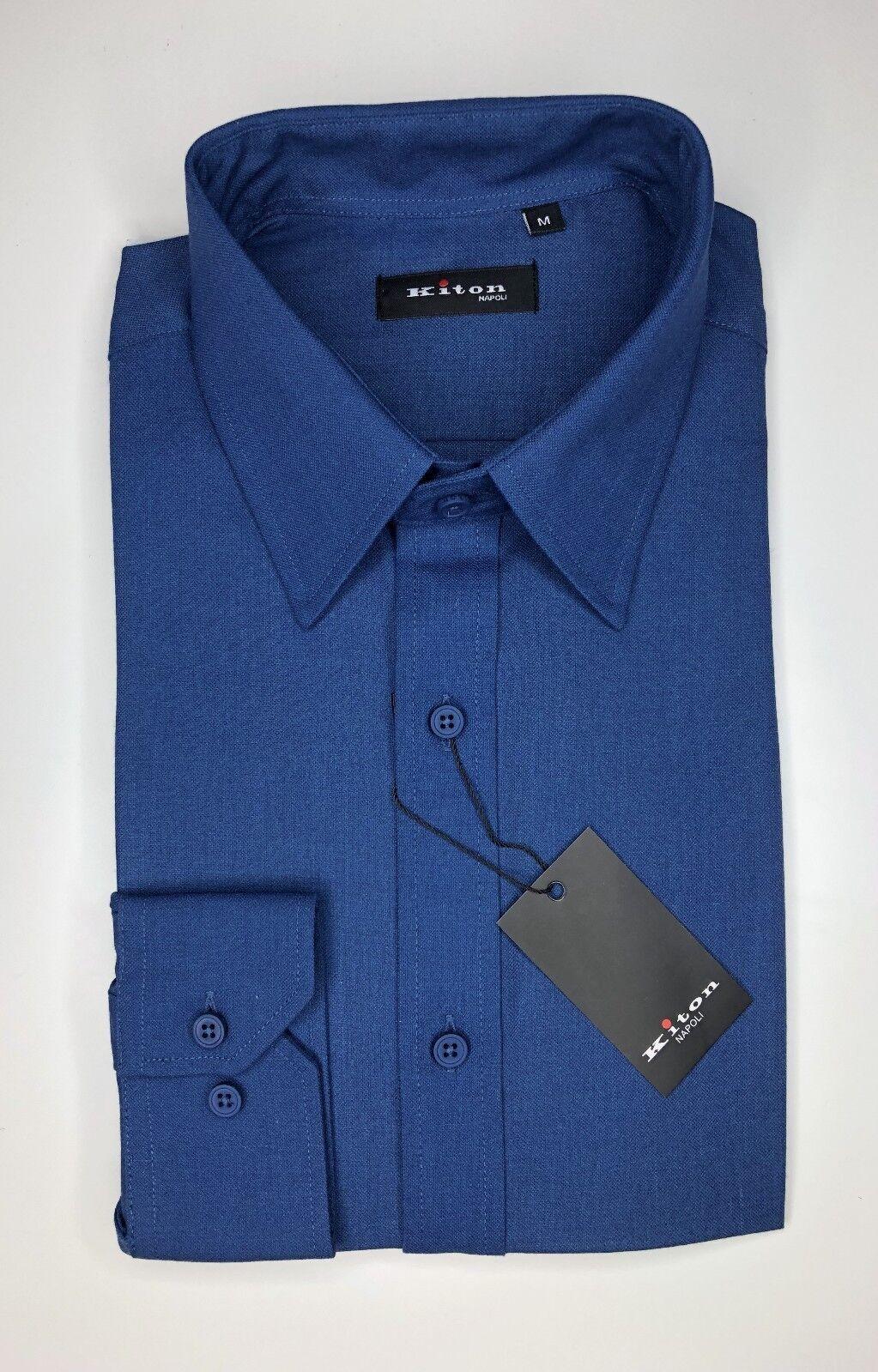 Kiton Shirt bluee Dress Shirt True Beauty Royal bluee Single Stitch Sz 15.5 32 33