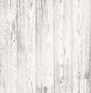 Image Is Loading White Metallic Silver Wood Effect Wallpaper Wooden Grain