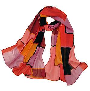 Long-Scarf-110-cm-multi-coloured-Design-Chiffon-Silky-Smooth-amp-Stylish