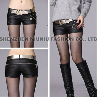 2015 New Women Black Faux Leather Mini Shorts Pants Trousers Zipper Hip Low Wais
