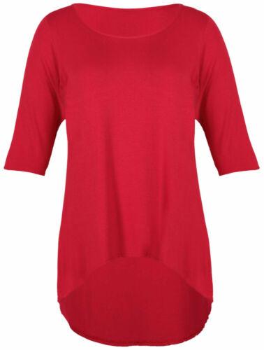 Femme Plus Taille T Shirt Femme Manches 3//4 Avec Un Ourlet Arrière Plus Long High Low Top